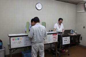 献血受付の様子
